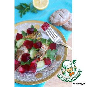 Рецепт: Рыбный салат со свекольным желе