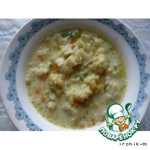 Рецепт: Суп из цветной капусты с белым соусом