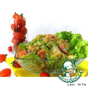 Рецепт: Салат Че-ба с чечевицей и красной рыбой