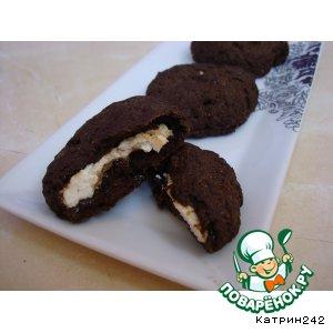 Рецепт: Шоколадные гипоаллергенные печенюшки с творожной начинкой
