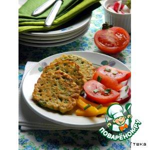 Рецепт: Оладьи из нутовой муки с зеленым горошком (постные )