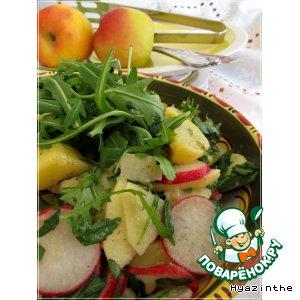 Рецепт: Салат картофельный с редиской и яблоком