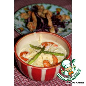 Рецепт: Крем-суп из цукини с креветками