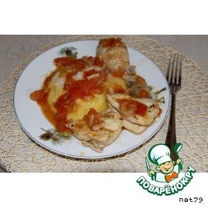 Рецепт: Курица в томатном соусе с полентой