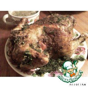 Рецепт: Курица, фаршированная гречневыми хлопьями с грибами