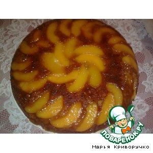 Рецепт: Постный персиковый пирог-перевeртыш