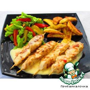 Рецепт: Куриные рулетик с имбирно-сливочным соусом