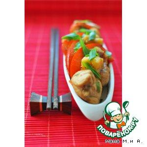 Рецепт: Цыпленок с ананасами и овощами по-китайски