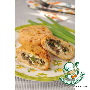 Рецепт: Рыбные зразы с грибной начинкой