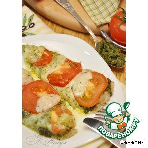 Рецепт: Горячее Капрезе из запеченного филе трески