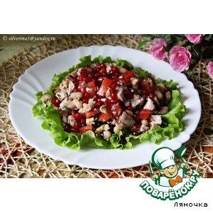 Рецепт: Салат с курицей, фасолью и гранатом