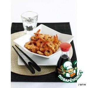 Рецепт: Креветки с соевым соусом и перцем