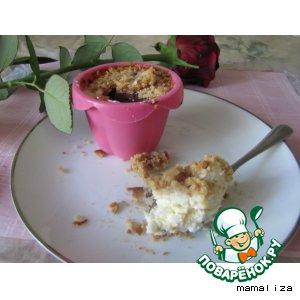 Рецепт: Творожно-кокосовые крамбл-кейки