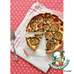 Рецепт: Открытый пирог с баклажанами и козьим сыром