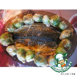 Рецепт: Рыбка-табака с брюссельской капустой