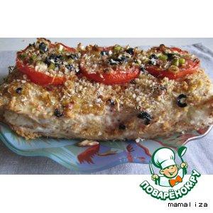 Рецепт: Куриный террин с рисовыми шариками и вялеными помидорами