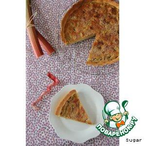 Рецепт: Открытый пирог с ревенем и миндалем