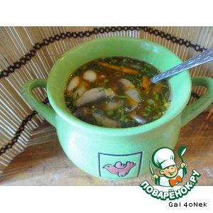 Рецепт: Фасолевый суп с грибами и копченостями