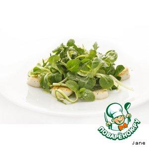 Рецепт: Салат с морскими гребешками