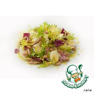 Рецепт: Салат с тунцом и чесночно-лимонной заправкой