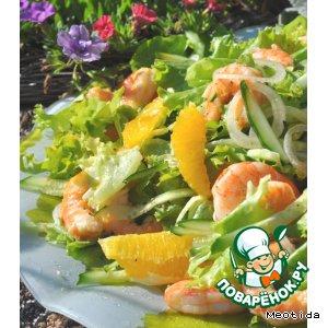 Рецепт: Салат с креветками Солнечное настроение