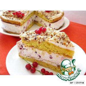 Рецепт: Торт с орехами и красной смородиной