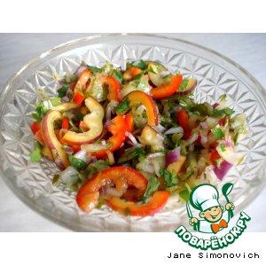 Рецепт: Салат из сладкого перца с соленым огурцом