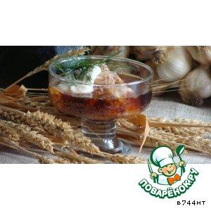 Рецепт: Летний суп из холодца с квасом и хреном