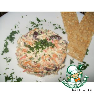 Рецепт: Салат из красной фасоли Итальянская трапеза