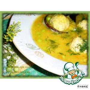Рецепт: Гороховый суп-пюре с фрикадельками