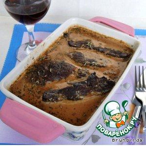 Рецепт: Печень телячья с шалфеем
