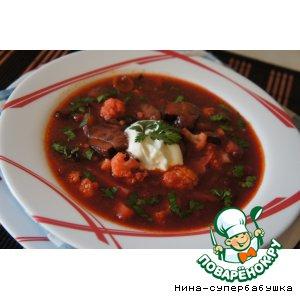 Рецепт: Грибной суп с черносливом