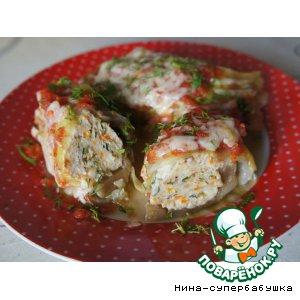 Рецепт: Баклажаны с куриным фаршем, запеченные в капусте