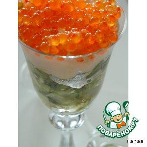 Рецепт: Закуска из картофеля и авокадо с рыбным мусом