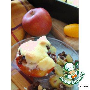 Рецепт: Запеченные яблоки с виноградом и орехами