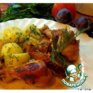 Рецепт Курица с яблоками в медово-горчичном соусе