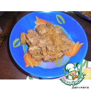 Рецепт: Мясо, тушеное с изюмом