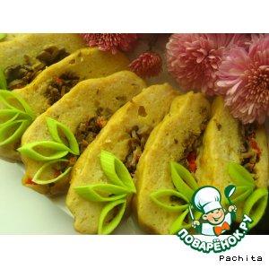Рецепт: Рыбный рулет-суфле с перично-грибной начинкой