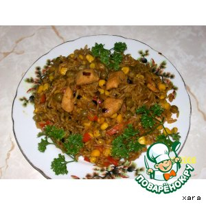 Рецепт: Рис с овощами и куриным филе (фантазия на тему ризотто)