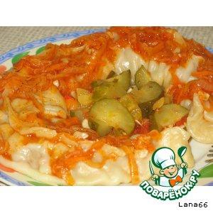 Рецепт: Ленивые манты в томатно-овощной заливке