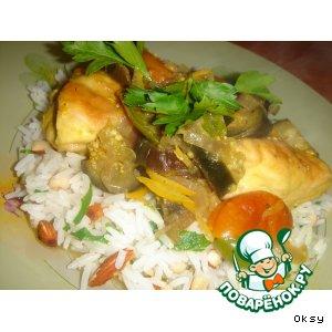 Рецепт: Рагу из курицы с баклажанами и курагой