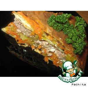 Рецепт: Блинный пирог с мясом и капустой
