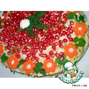 Рецепт: Закусочный торт Салют