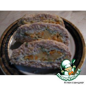Рецепт: Мясной рулет с омлетом