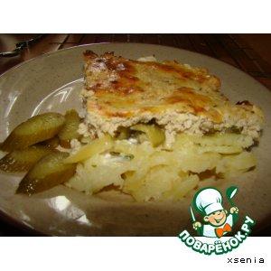 Рецепт: Картофель под мясной шубкой