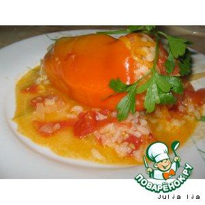 Рецепт: Болгарский перец, фаршированный рисом и овощами