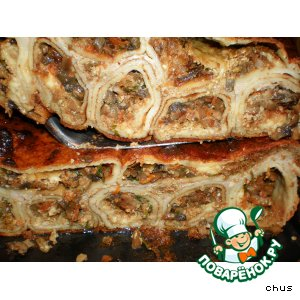 Рецепт Блинная запеканка с начинкой из овощей,  грибов,  сыра и орехов