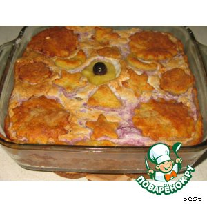 Творожное пирожное с яблоками