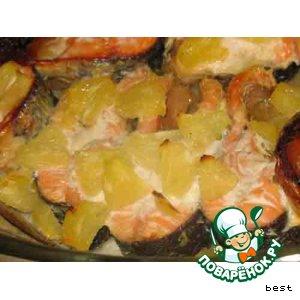 Рецепт: Рыба в ананасе