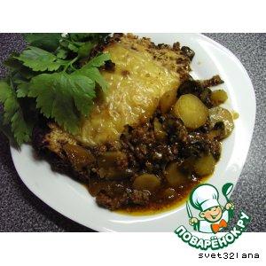 Рецепт: Картофельная запеканка с лечо и грибами